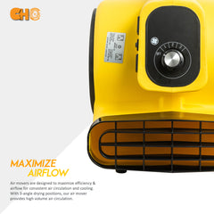 CHO Air Mover Durable Lightweight Carpet Dryer Utility Blower Floor Fan for Janitorial Cleaner Home Commercial Yellow - CHO Sports
