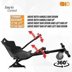 Hover Cart Attachment Seat Hoverboard Electric Self Balancing Black - CHO Sports