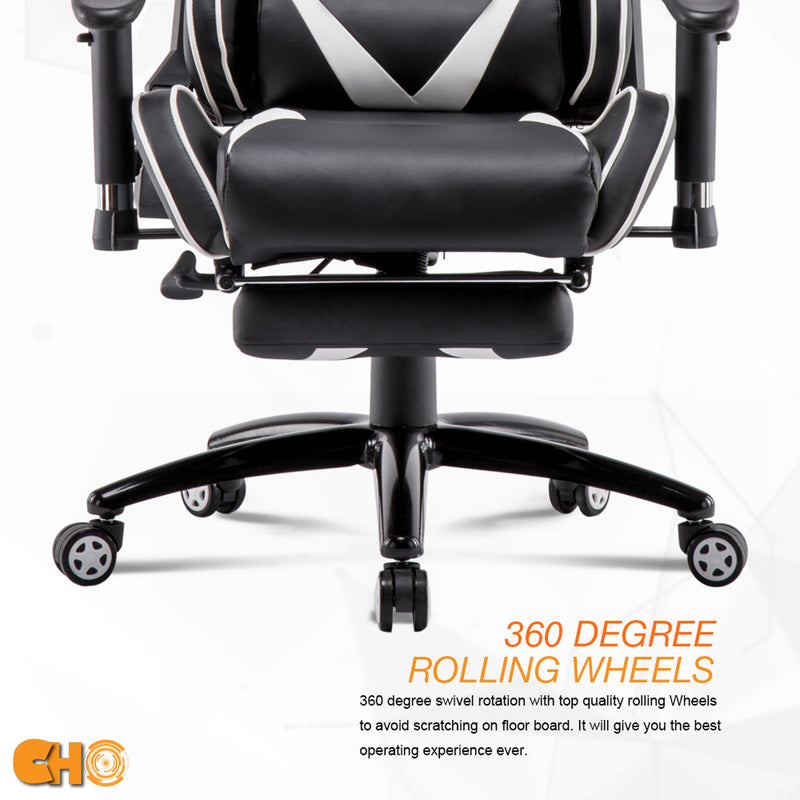 Gaming Chair White & Black with Footrest GM-2288 - CHO Sports