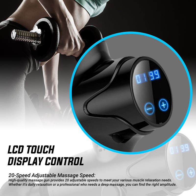 CHO Cordless Massage Gun Handheld Portable Professional Deep Body Muscle Massager for Pain Relief Black - CHO Sports