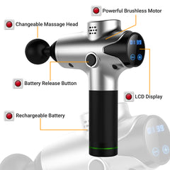 CHO Cordless Massage Gun Handheld Portable Professional Deep Body Muscle Massager for Pain Relief Silver - CHO Sports
