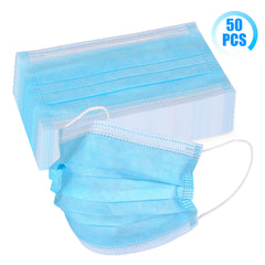 50pcs 3-Ply Unisex-adult Disposable Face Cover Mask with Elastic Ear loop Blue White Color - CHO Sports