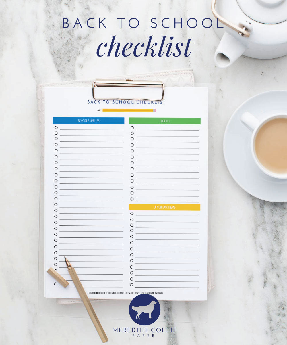 back to school supply check list, meredith collie paper