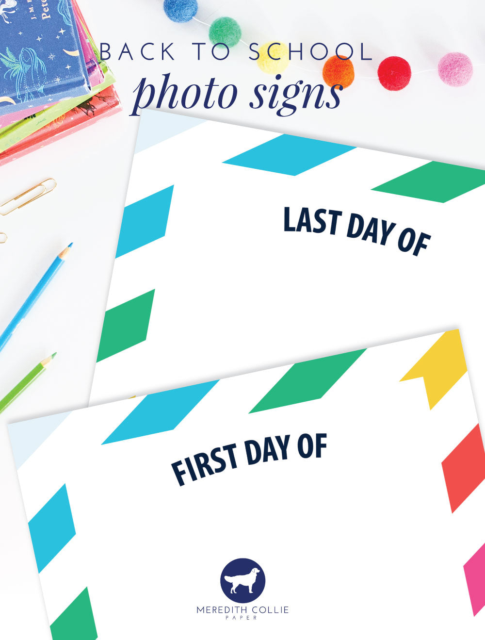 back to school signs, free printable, meredith collie paper