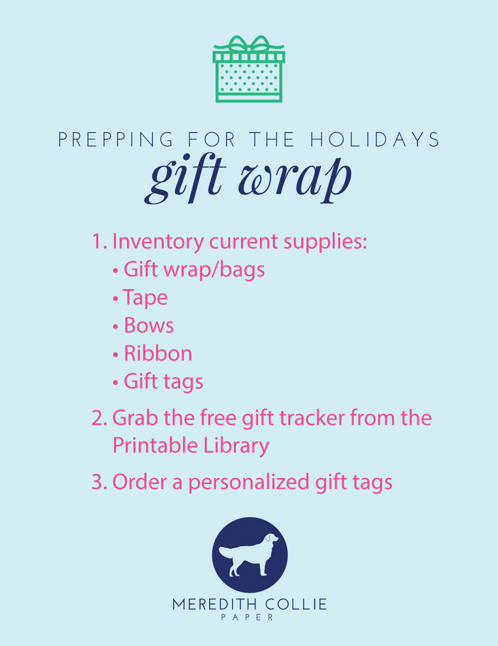 Prepping for the holidays, gift wrap check list, Meredith Collie Paper