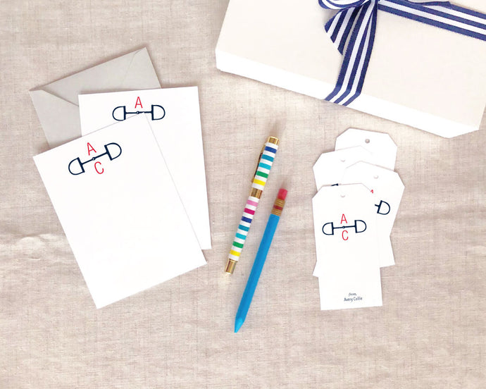 Two Letter Snaffle Bit Stationery Gift Set - Small / Meredith Collie Paper