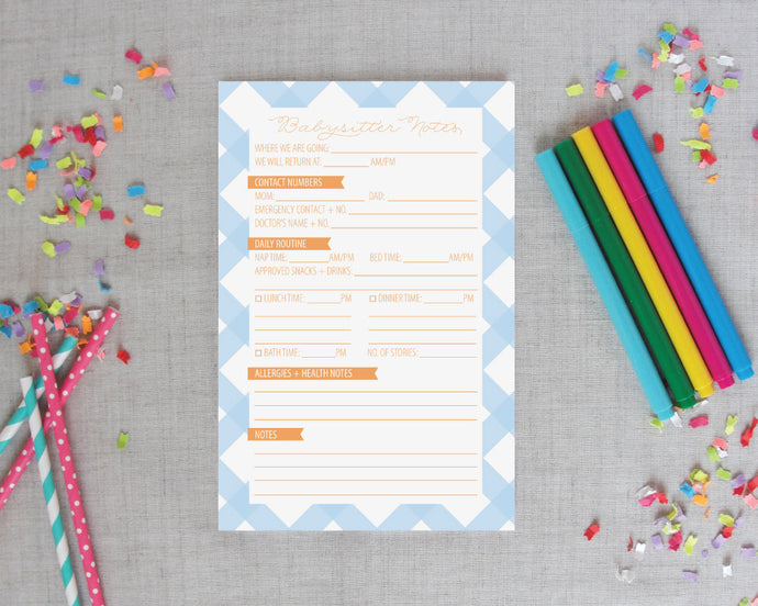 Buffalo Check Babysitter Notepad | Meredith Collie Paper