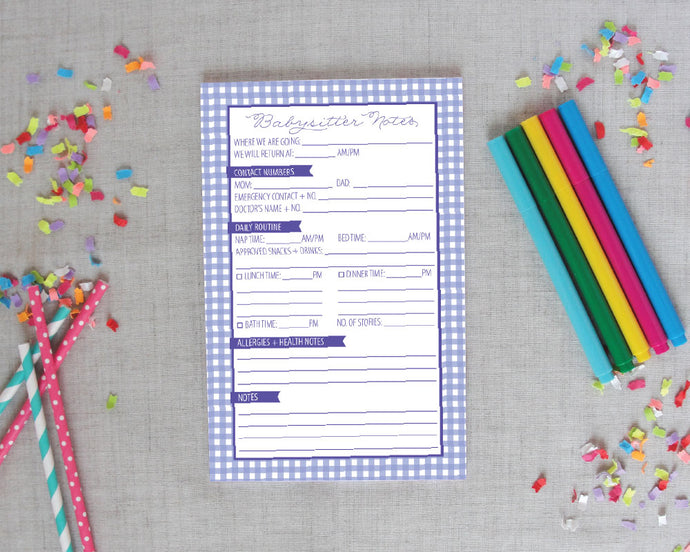 Babysitter Notepad in Gingham Check|Meredith Collie Paper