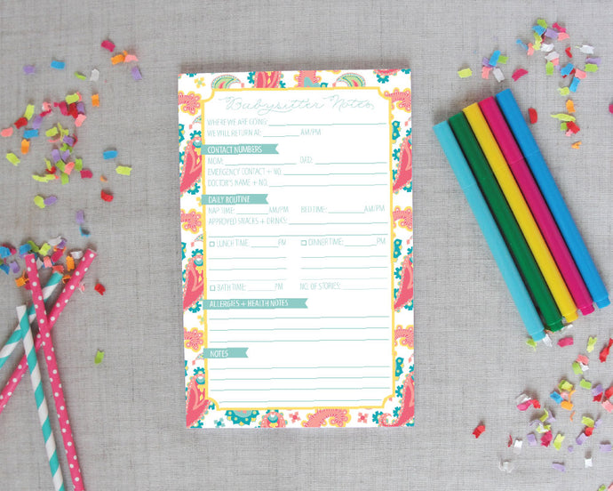 Babysitter Notepad in Paisley Pastel|Meredith Collie Paper