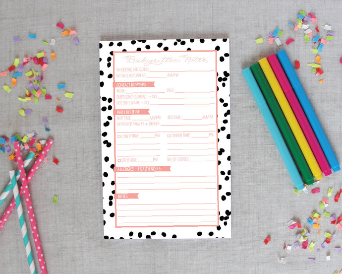 Babysitter Notepad in Well Spotted | Meredith Collie Paper