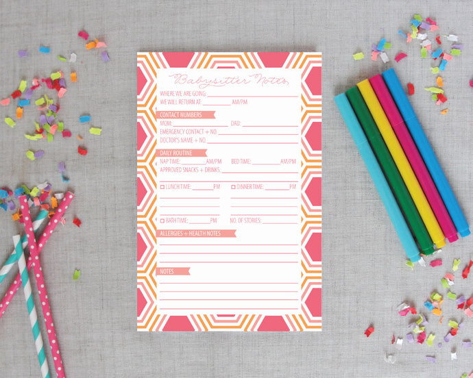 Hexagon Babysitter Notepad Pinks/Oranges | Meredith Collie Paper
