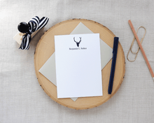 Load image into Gallery viewer, Sporting Gentlemen Deer Silhouette Personalized Stationery | Meredith Collie Paper