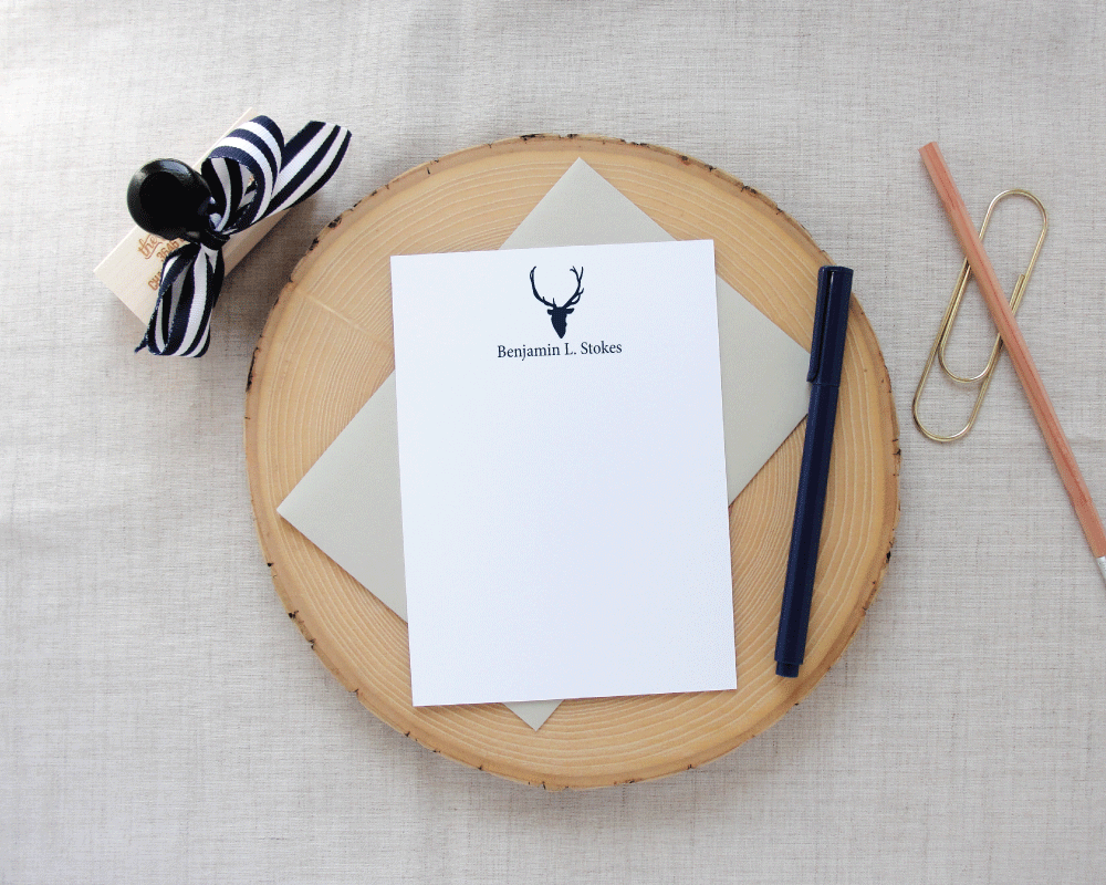 Sporting Gentlemen Deer Silhouette Personalized Stationery | Meredith Collie Paper