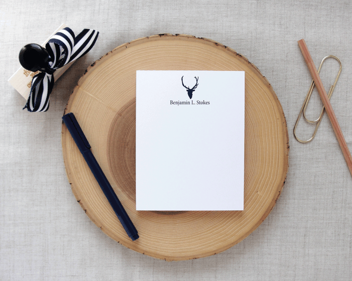 Sporting Gentlemen Deer Silhouette Personalized Small Notepad | Meredith Collie Paper