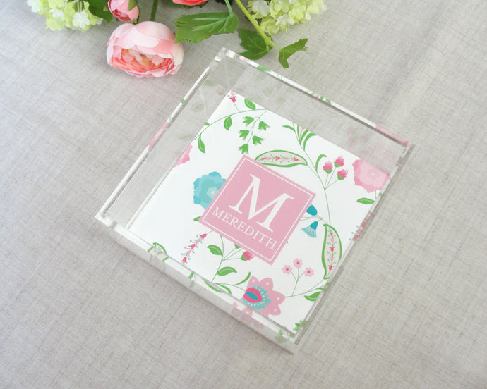 Floral Paisley Square Lucite Tray | Meredith Collie Paper