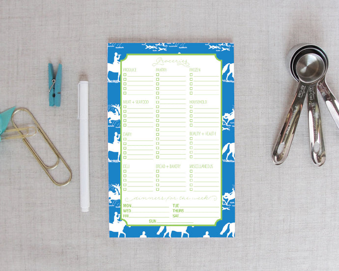 Grocery Shopping List Notepad In Equestrian Chinoiserie|Meredith Collie Paper