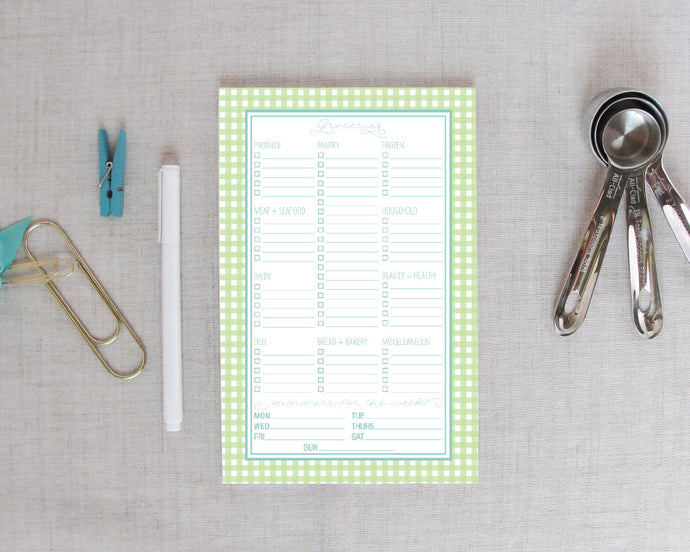 Grocery Shopping List Notepad in Gingham Check|Meredith Collie Paper