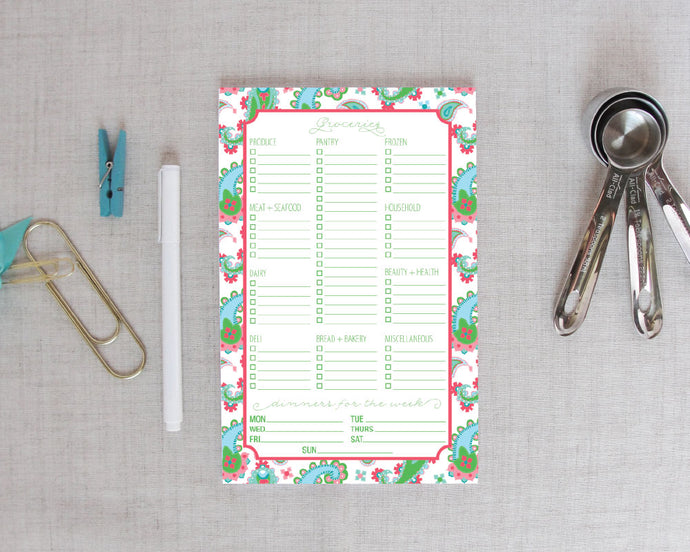 Grocery Shopping List Notepad in Paisley Bright | Meredith Collie Paper