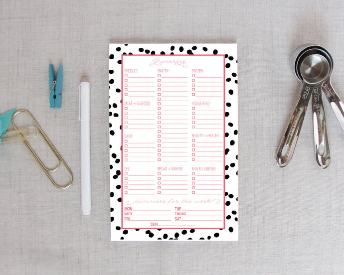 Grocery Shopping List Notepad in Well Spotted Pattern | Meredith Collie Paper