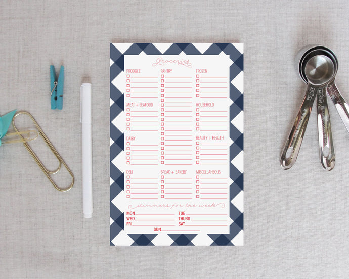 Buffalo Check Grocery Shopping List Notepad | Meredith Collie Paper