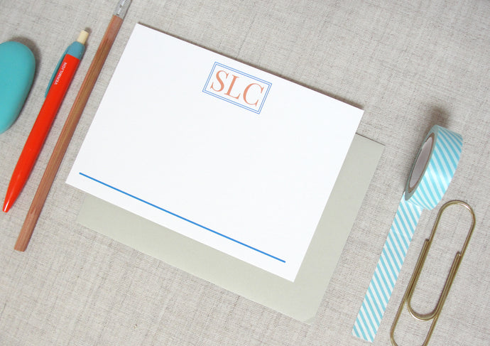 Traditional Three Letter Monogram Stationery | Meredith Collie Paper
