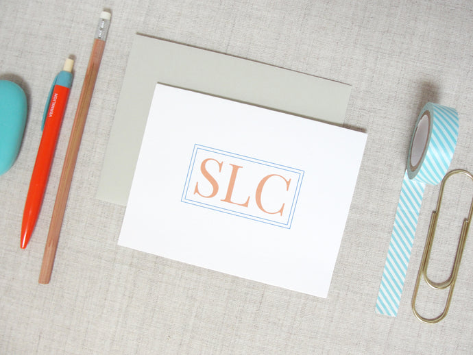 Traditional Three Letter Monogram Note Cards | Meredith Collie Paper
