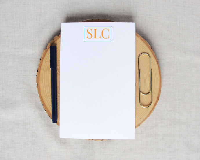Traditional Three Letter Monogram Medium Notepad | Meredith Collie Paper