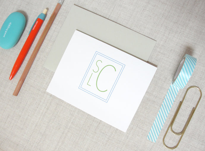 Stacked Monogram Note Cards | Meredith Collie Paper