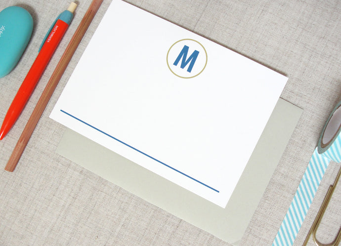 Modern Single Initial Monogram Stationery | Meredith Collie Paper