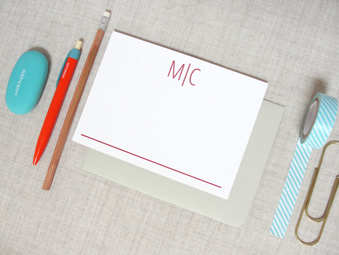 Modern Two Letter Monogram Stationery | Meredith Collie Paper
