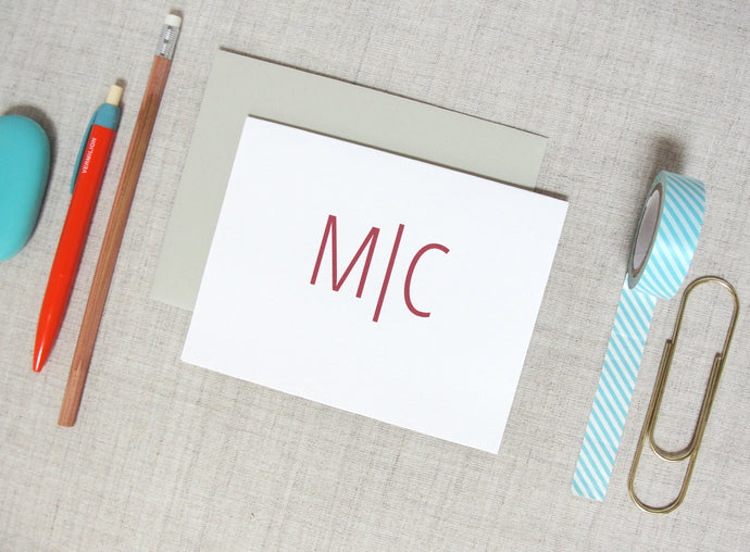 Modern Two Letter Monogram Note Cards | Meredith Collie Paper