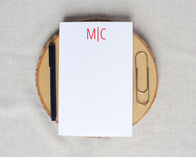 Modern Two Letter Monogram Notepad | Meredith Collie Paper