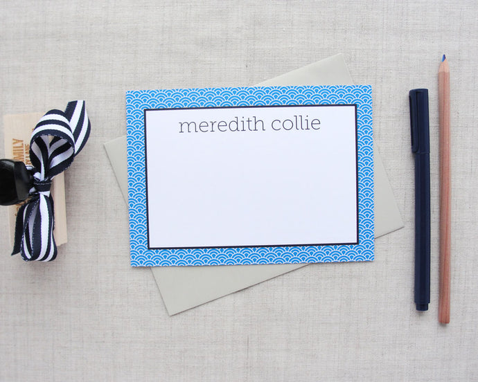 Japanese Ocean Wave Pattern Flat Stationery | Meredith Collie Paper