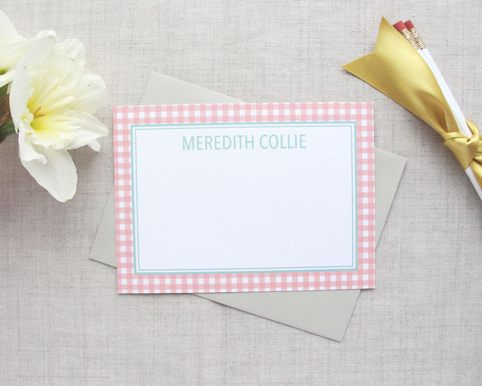 Personalized Stationery Set Gingham | Meredith Collie Paper