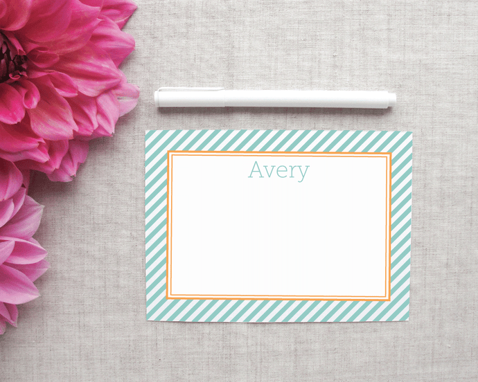 Personalized Stationery in Diagonal Stripes | Meredith Collie Paper