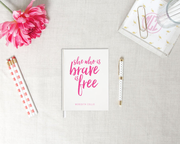 Brave Personalized Hardback Journal | Flamingos for a Cure | Meredith Collie Paper
