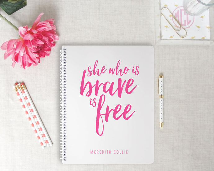 Brave Personalized Spiral Notebook | Flamingos for a Cure | Meredith Collie Paper