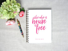 Load image into Gallery viewer, She Who is Brave Personalized Spiral Hardback Journal | Flamingos for a Cure | Meredith Collie Paper