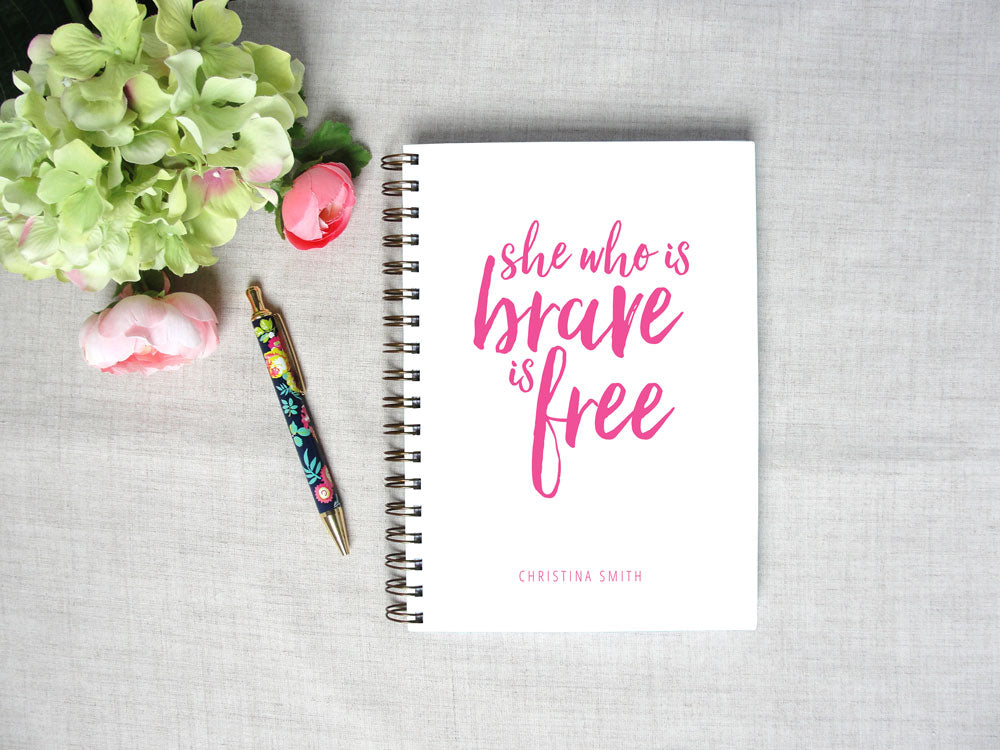 She Who is Brave Personalized Spiral Hardback Journal | Flamingos for a Cure | Meredith Collie Paper