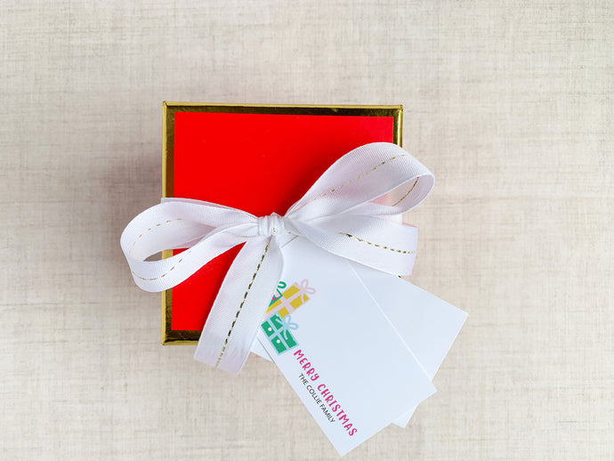 Personalized Christmas Present Holiday Enclosure Cards