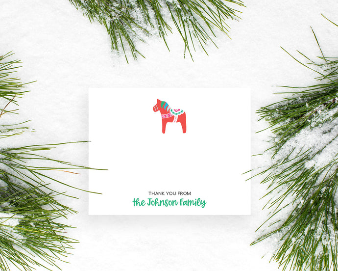 Personalized Christmas Dala Horse Holiday Thank You Notes