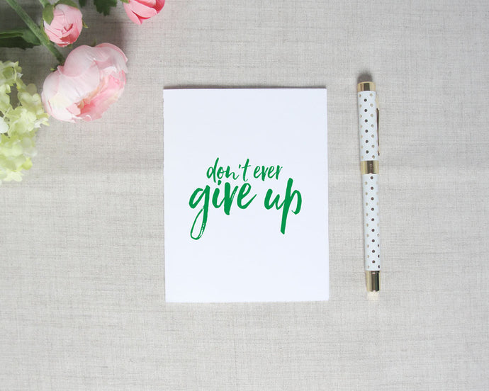 Don't Ever Give Up Inspirational Greeting Card | Flamingos for a Cure | Meredith Collie Paper