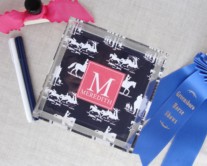 Monogram Equestrian Chinoiserie Lucite Tray