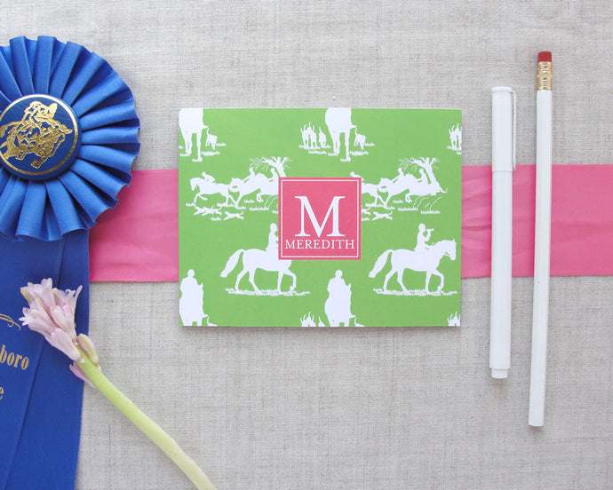 Equestrian Chinoiserie Monogram Folded Note Cards