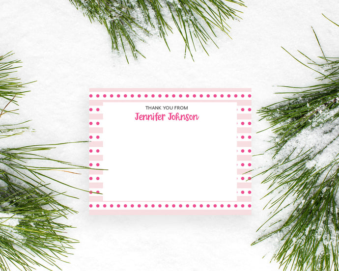 Personalized Christmas Stripes Holiday Thank You Notes