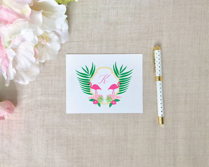 Flamingo Crest Monogram Folded Note Card