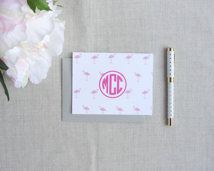 Mini Flamingo Monogram Folded Note Cards | Flamingos for a Cure | Meredith Collie Paper