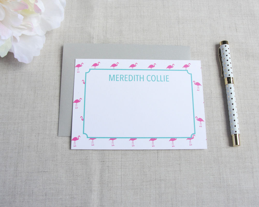 Mini Flamingo Personalized Stationery | Flamingos for a Cure | Meredith Collie Paper