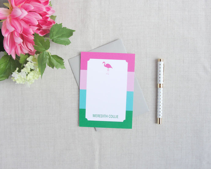 Flamingo Stripe Personalized Stationery | Flamingos for a Cure | Meredith Collie Paper