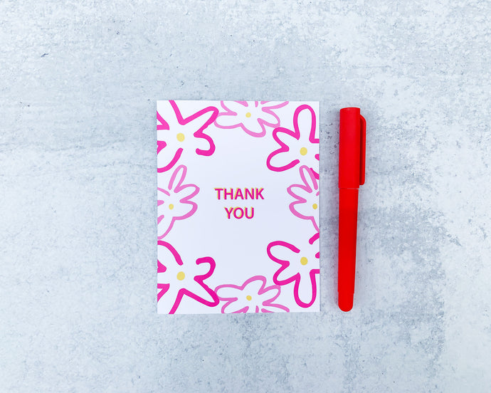Pink Floral Thank You Greeting Card